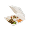 Lunchbox 3 compartiments - Bagasse - 100% naturel / 22,9 x 22,9 x 4,5 cm