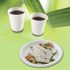 Lot de 50 assiettes rondes 23 x 2 cm et 50 gobelets 200 mL - Bagasse - 100% naturel